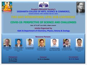 Two Day International Level Web-conference on the topic COVID-19: Perspective of Science and Challenges on 19th and 20th June 2020